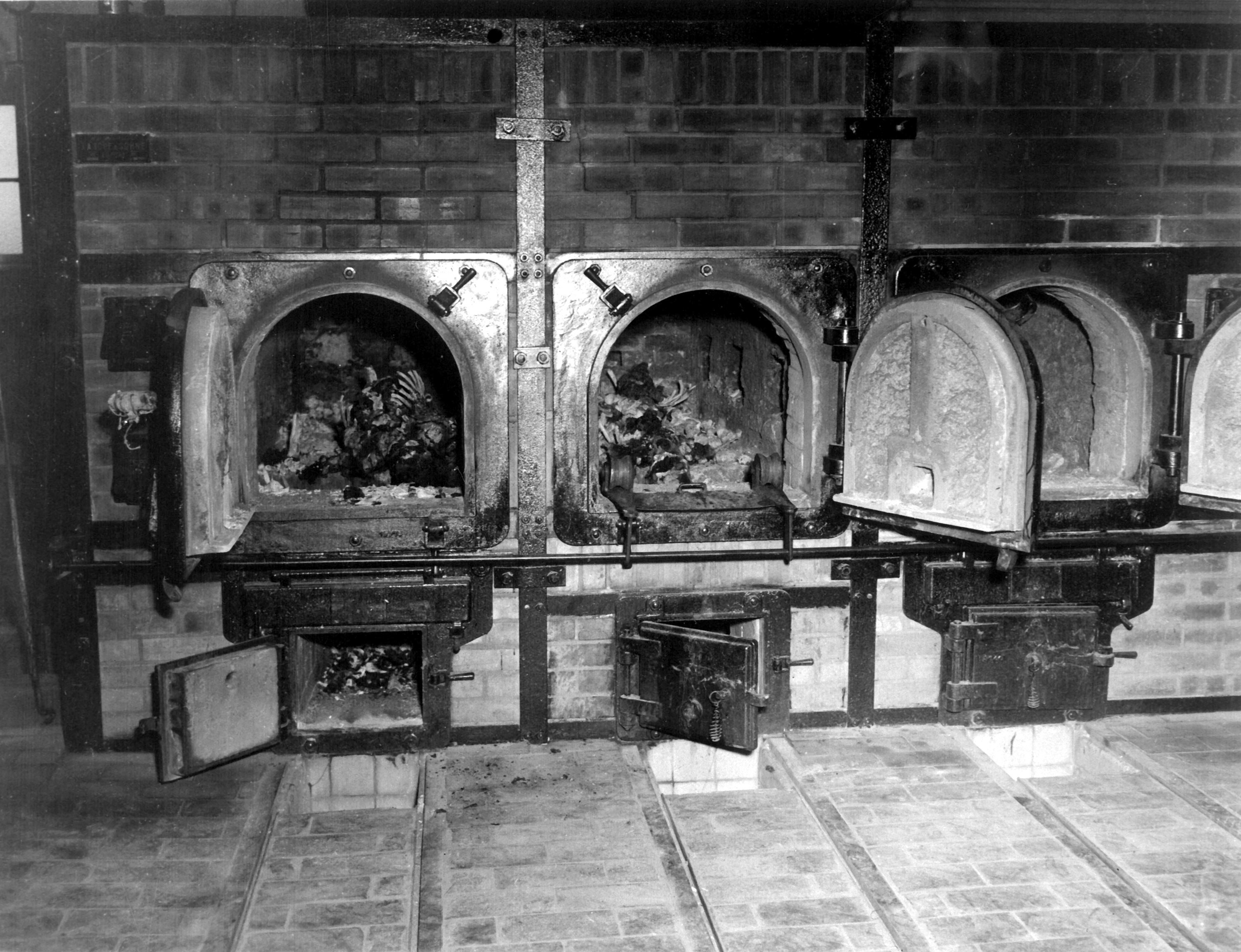 Bones of anti-Nazi German women still are in the crematoriums in the German concentration camp at Weimar, Germany, taken by the 3rd U.S. Army.  Prisoners of all nationalities were tortured and killed.  April 14, 1945.  Pfc. W. Chichersky.  (Army) NARA FILE #:  111-SC-203461 WAR & CONFLICT BOOK #:  1122